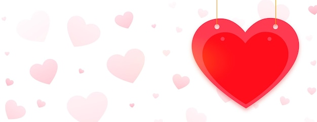 Banner de saludo de feliz día de san valentín con corazón rojo