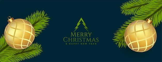 Banner de saludo de feliz navidad con decoración realista