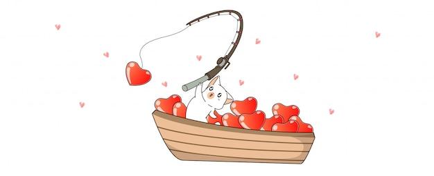 Banner saludo kawaii cat está pescando corazones en estilo de dibujos animados