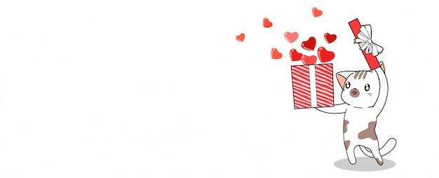 Banner saludo lindo gato está abriendo la caja de amor