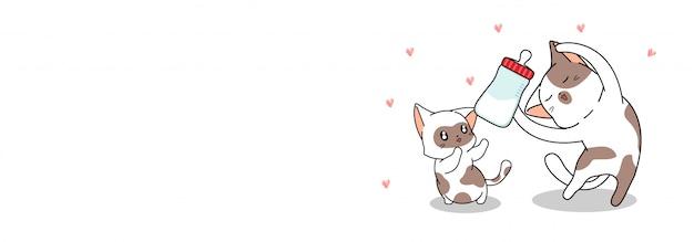Banner saludo lindo gato está alimentando bebé gato con leche
