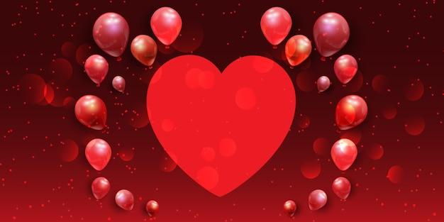 Banner de san valentín con corazón y globos