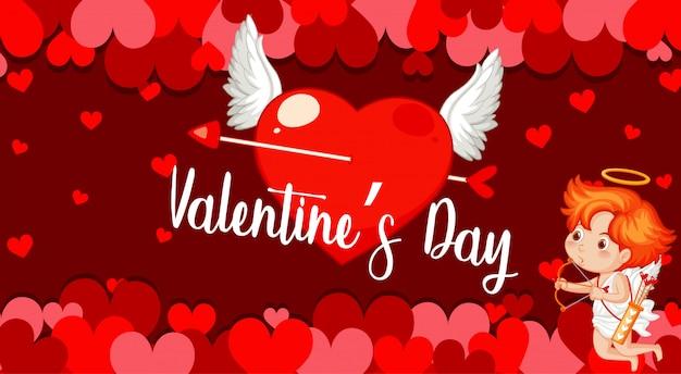 Banner de san valentín con corazones y cupido