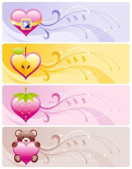 Banner de san valentín con corazones de dibujos animados, manzana, fresa, oso.