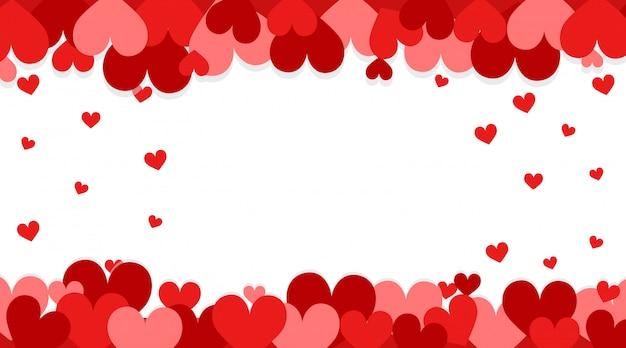 Banner de san valentín con corazones rojos