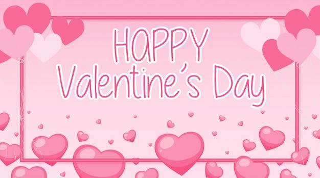 Banner de san valentín con corazones rosas y marco