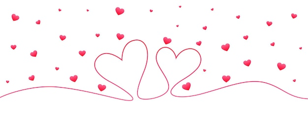Banner de san valentín de doodle de corazón de línea mínima