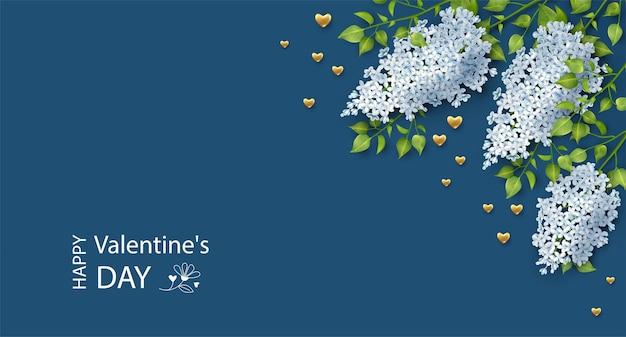 Banner de san valentín con flor de flor y corazones de oro