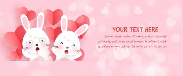 Banner de san valentín con lindos conejos y corazones de papel en estilo de corte de papel.