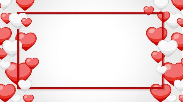 Banner de san valentín con marco de corazón