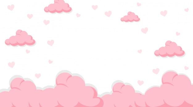 Banner de san valentín con nubes rosas en el cielo