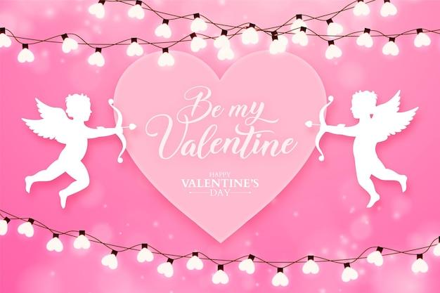 Banner de san valentín con siluetas de cupido y bulbos de corazón, fondo rosa romántico