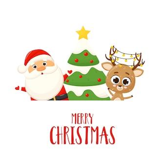 Banner con santa claus, ciervo, árbol de navidad y regalo