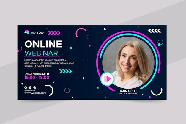 Banner de seminario web con formas y foto