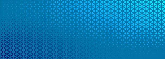 Banner de semitono azul con diseño de formas triangulares