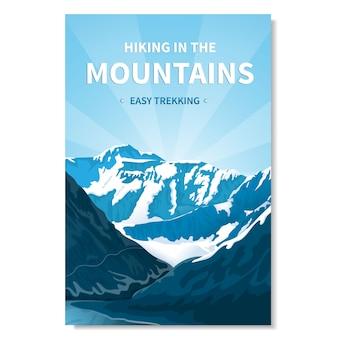 Banner de senderismo en las montañas