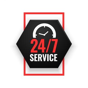 Banner de servicio 24 horas con diseño de reloj.