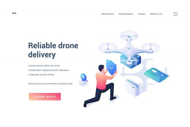 Banner para un servicio confiable de entrega de drones