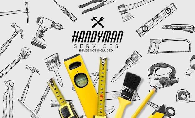 Banner de servicio handymand con patrones sin fisuras de herramientas en blanco y negro