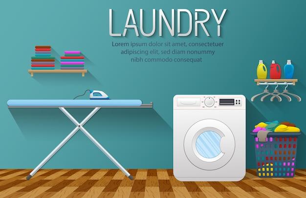 Banner de servicio de lavandería con elemento de la sala de lavandería