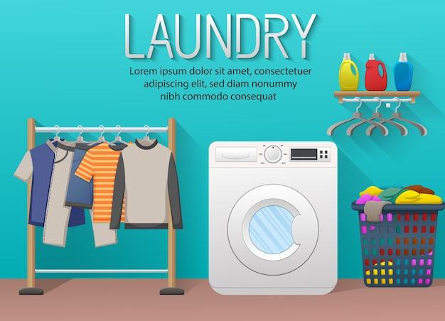 Banner de servicio de lavandería con elementos de la sala de lavandería