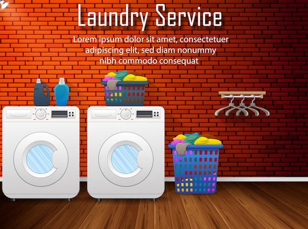 Banner de servicio de lavandería con vista plana de la sala de lavandería.