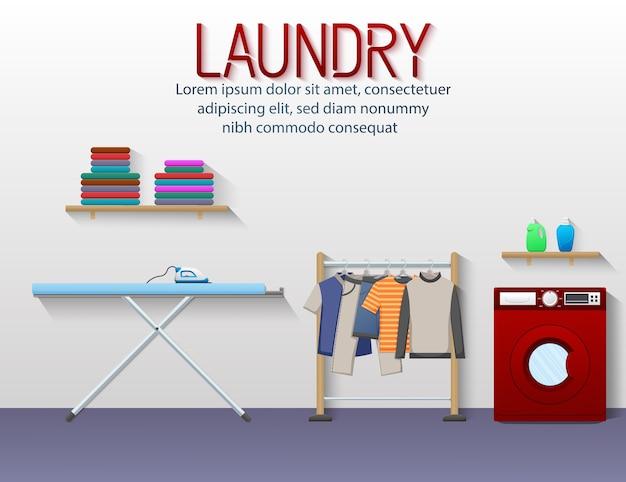 Banner de servicio de lavandería con vista a la sala de lavandería