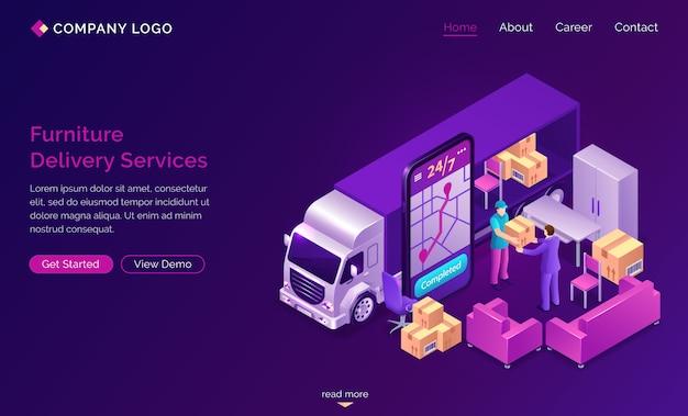 Banner de servicios en línea de entrega de muebles