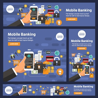 Banner set vector digital de negocios