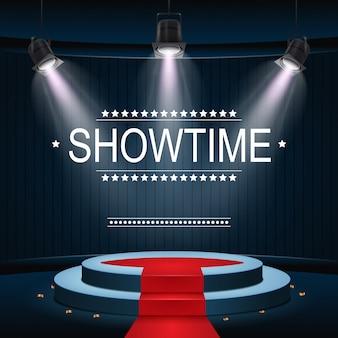 Banner de showtime con podio y alfombra roja iluminada por focos.