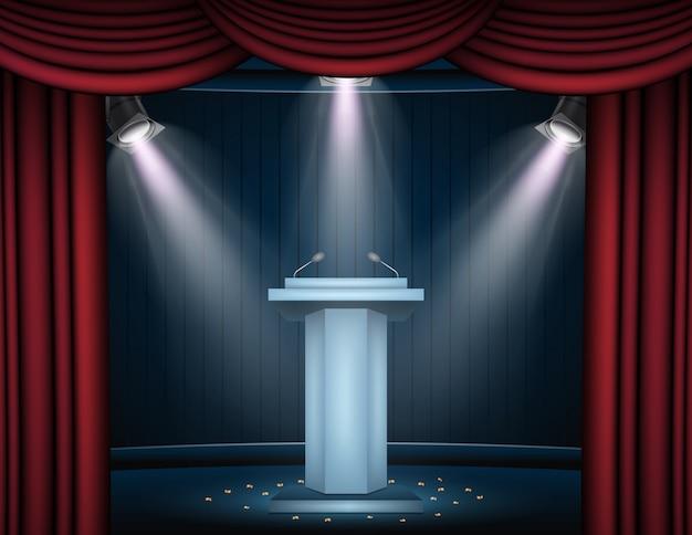 Banner de showtime con podio y cortina iluminada por focos.