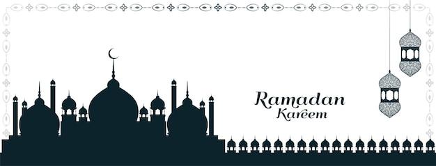 Banner simple y elegante de ramadán kareem con mezquita