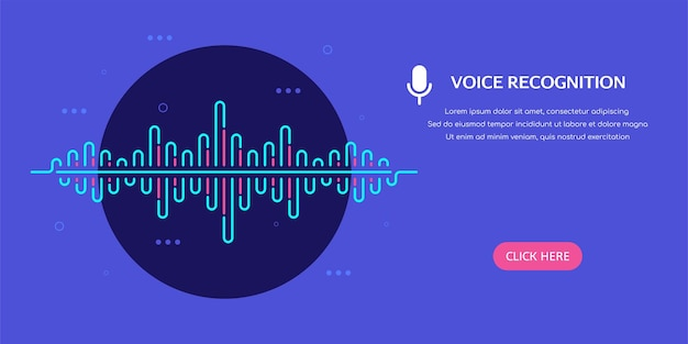Banner del sistema de reconocimiento de voz con onda de sonido en la ilustración de estilo plano