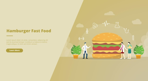 Banner de sitio web de comida chatarra de hamburguesas