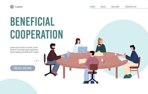 Banner de sitio web de cooperación beneficiosa