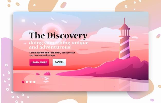 Banner de sitio web con faro en la costa junto al mar.