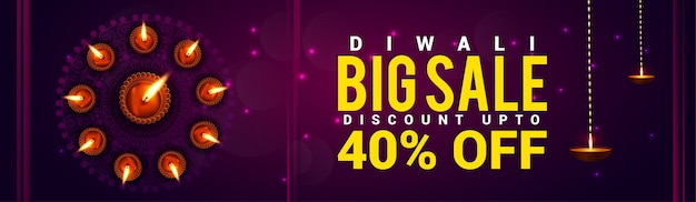 Banner de sitio web feliz festival de luces de venta de diwali