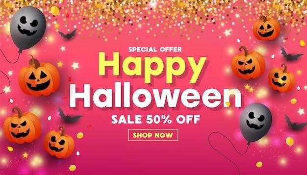 Banner de sitio web de feliz halloween con cara de calabaza naranja, monedas de oro, globos y purpurina dorada