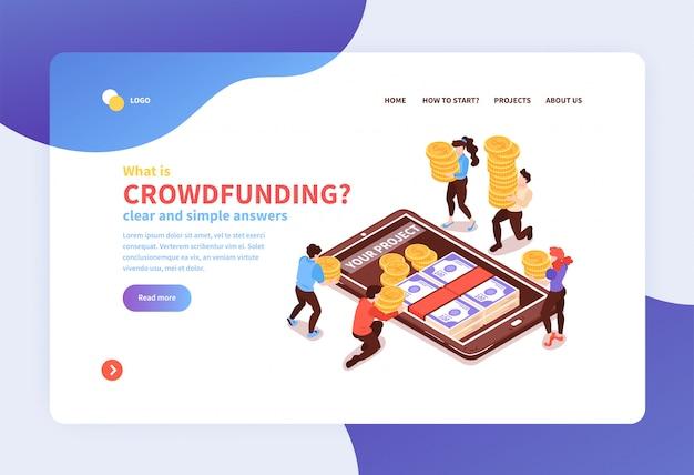 Banner de sitio web isométrico de concepto de banca móvil en línea con crowdfunding recaudando dinero en el símbolo de la pantalla del teléfono inteligente