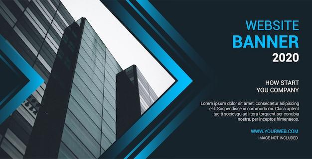 Banner de sitio web moderno con formas azules abstractas