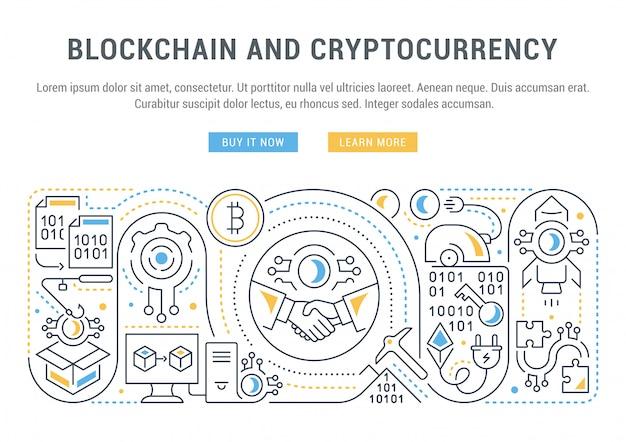 Banner del sitio web o página de destino de blockchain y cryptocurrency.