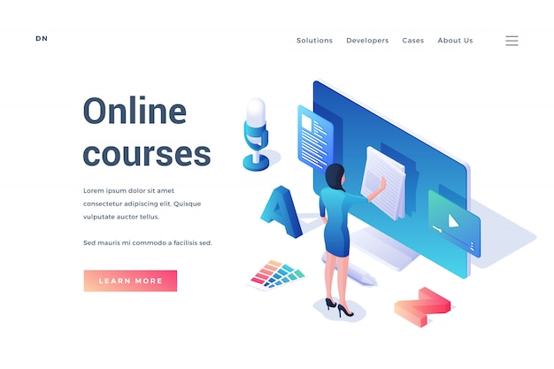 Banner de sitio web con oferta de cursos online
