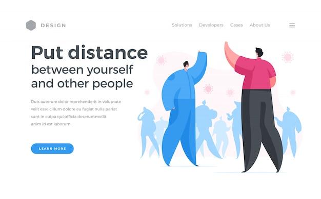 Banner de sitio web pidiendo mantener la distensión social