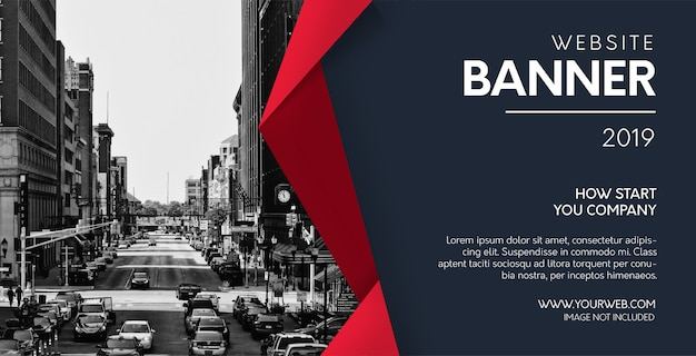 Banner de sitio web profesional con formas rojas