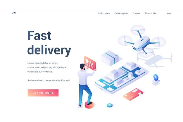 Banner para sitio web de servicio de entrega rápida