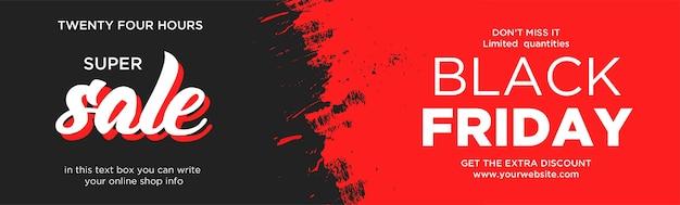Banner de sitio web de super venta de viernes negro con salpicaduras rojas