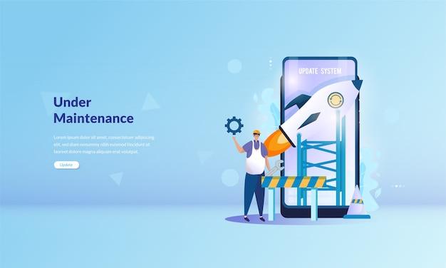 Banner sobre sistema en mantenimiento en concepto de aplicación móvil