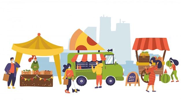 Banner sobre el tema del mercado agrícola, alimentos orgánicos. festival de comida callejera. diferentes vendedores, tienda local. los agricultores venden frutas y verduras frescas. la gente compra comida después del bloqueo del coronavirus. diseño plano