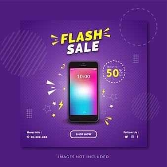 Banner social de smartphone de venta flash