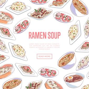 Banner de sopa de ramen chino con platos asiáticos